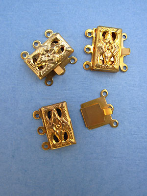 Three Hole Clasps - Gold Plated - 5 sets