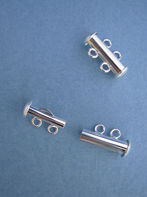 Two Strand Tube Clasp Silver Plated - 3sets