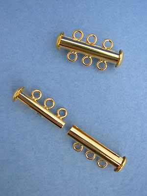 Three Strand Tube Clasp Gold Plated - 3sets