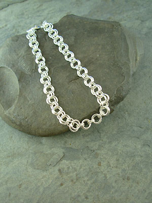 Double Ring Chain Maille Bracelet - Argentium Sterling Silver