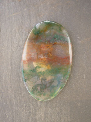 Red and Green Moss Agate from India Designer Cabochon - 55mmx35mm
