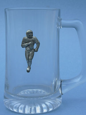Football Player Beer Mug - Lead Free Pewter