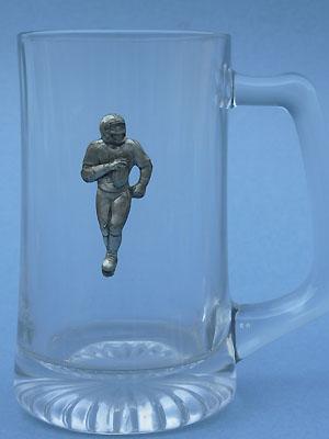 Football Player Beer Mug - Lead Free Pewter