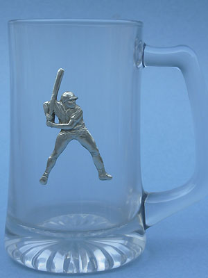 Baseball Player Beer Mug - Lead Free Pewter