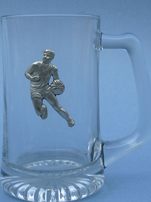 Basketball Player Beer Mug - Lead Free Pewter
