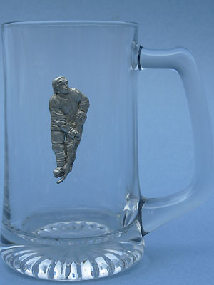 Hockey Player Beer Mug - Lead Free Pewter