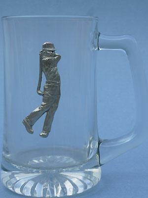 Modern Golfer Beer Mug - Lead Free Pewter