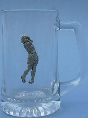 Lady Golfer Beer Mug - Lead Free Pewter