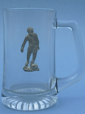 Soccer Player Beer Mug - Lead Free Pewter