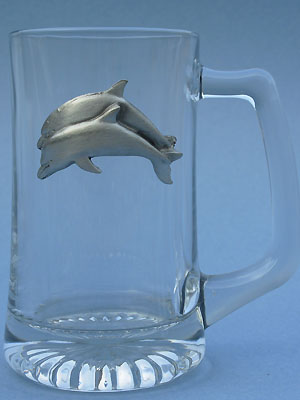 Double Dolphin Beer Mug - Lead Free Pewter