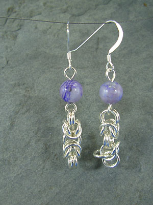 Byzantine with Charoite Chain Maille Earrings - Argentium Sterling Silver
