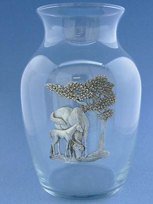 Mare & Foal Vase - Lead Free Pewter