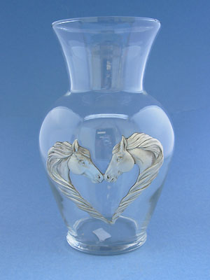 "Horse /Heart Vase (6 3/4"") - Lead Free Pewter"