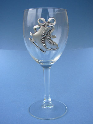 Figure Skate Wine Glass - Lead Free Pewter