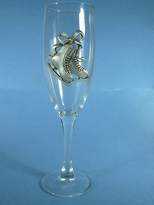 Figure Skate Champagne Glass - Lead Free Pewter