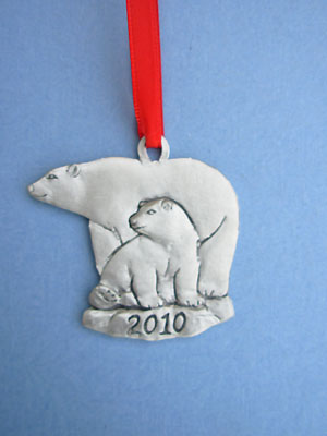 2010 Polar Bear Annual Ornament - Lead Free Pewter
