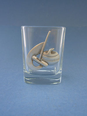 Curling Rock and Broom Swoosh Shot Glass - Lead Free Pewter