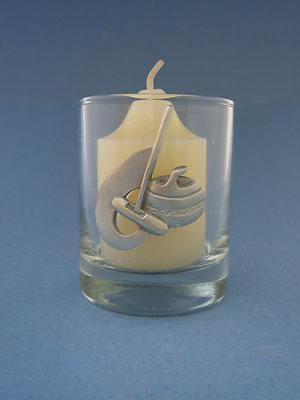 Curling Rock, Broom and Swoosh Glass Votive - Lead Free Pewter