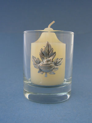 Maple Leaf with Rock Votive Holder - Lead Free Pewter