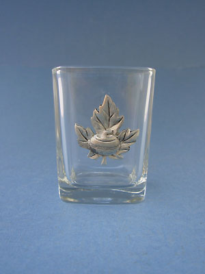 Maple Leaf with Rock Shot Glass - Lead Free Pewter