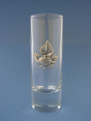 Maple leaf with curling rock Shooter - Lead Free Pewter