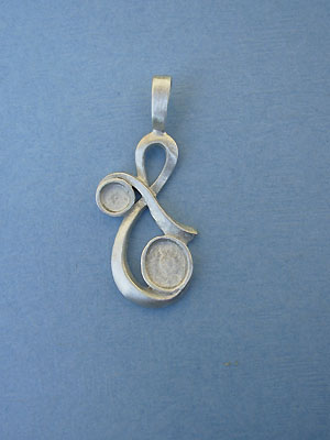 Two Stone Ribbon Pewter Setting - Lead Free Pewter