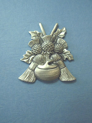 Curling Brooms, rock and thistle Brooch - Lead Free Pewter