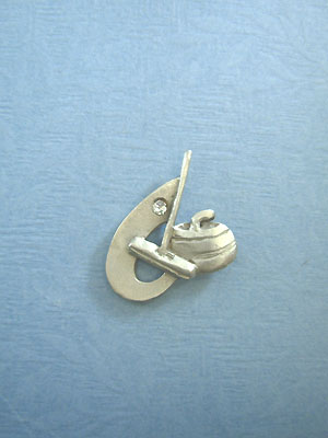 Curling rock, broom, swoosh Lapel Pin with Rhinestone - Lead Free Pewter