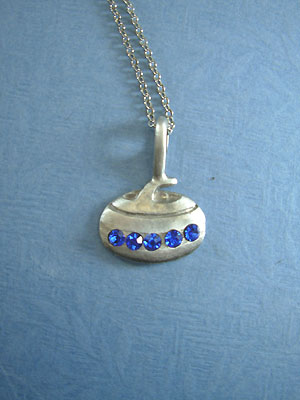 "Curling rock with Rhinestones - Lead Free Pewter c/w 18"" Chain"