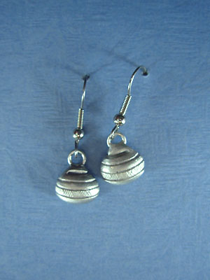 Curling Rock Drop Earrings - Lead Free Pewter