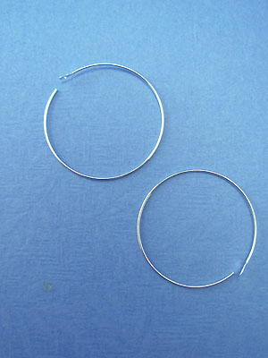 30mm Bead Hoops Silver Plated - 10pcs