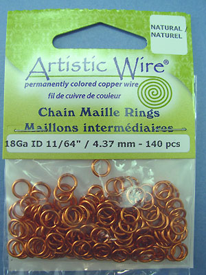 "18ga ID 11/64"" /4.37mm - Artistic Wire Jump Rings"