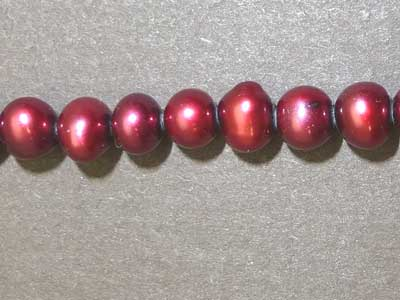 """Dyed Dark Red Freshwater Pearls - 16"""" Strand"""