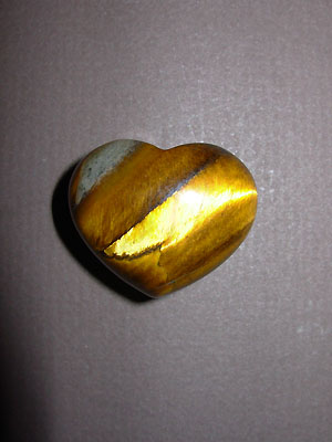 Tiger Eye Gemstone Puff Heart
