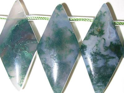 """16x35mm Rhombus Green Agate - 16"""" Strand"""