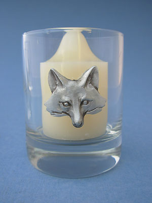 Fox Head Votive Holder - Lead Free Pewter Glass