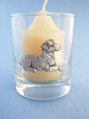 Sitting #2 Jack Russell Votive Holder - Lead Free Pewter