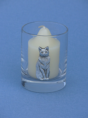 Regal Cat Votive Holder - Lead Free Pewter