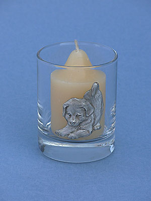Puppy Glass Votive - Lead Free Pewter