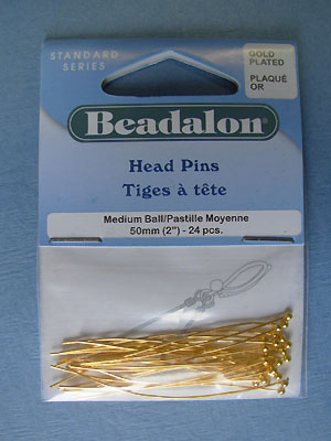 Medium Ball Headpin Gold Plated (2.0mm) - 24pcs