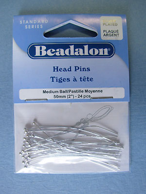 "Medium Ball Head Pins - Silver Plated (2"") - 24pcs"
