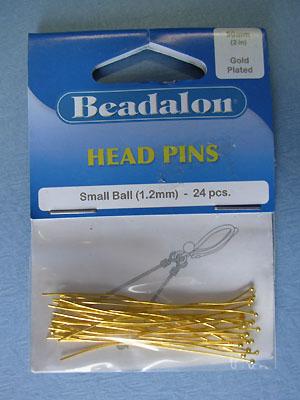 Small Ball Head Pin Gold Plated(1.2mm) - 24pcs