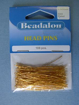 Headpin Gold Plated (.7x50mm) - 72pcs