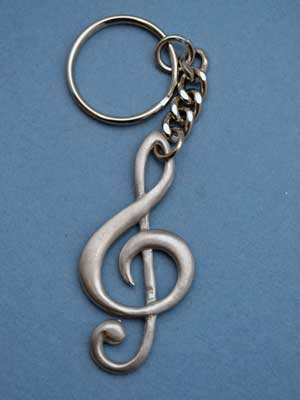 Treble Clef Keychain - Lead Free Pewter