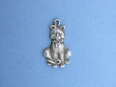 Sitting Cat Key Chain - Lead Free Pewter