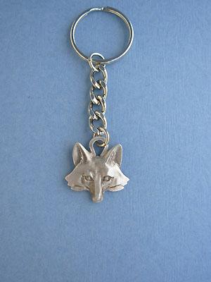 Small Fox Head Keychain - Lead Free Pewter