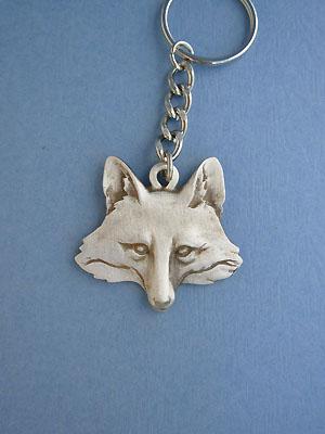 Large Fox Head Keychain - Lead Free Pewter