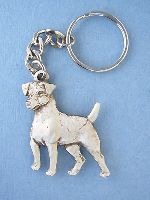 Standing Jack Russell Keychain - Lead Free Pewter