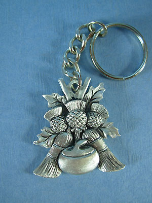 Curling rocks, thistle and broom keychain - Lead Free Pewter