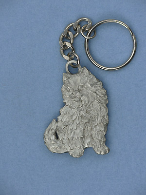 Fluffy Cat Key Chain- Lead Free Pewter